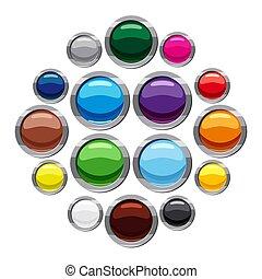 網, スタイル, アイコン, セット, ラウンド, ボタン, ブランク, 漫画