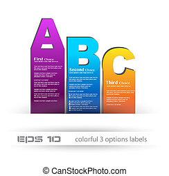 網, スタイル, ビジネス, 比較, 使用法, ラベル, プロダクト, 3, ペーパー, depliant, 理想, presentation., infographics, ∥あるいは∥, choices.