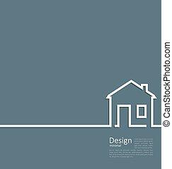 網, スタイル, 家, テンプレート, ロゴ, 最小である