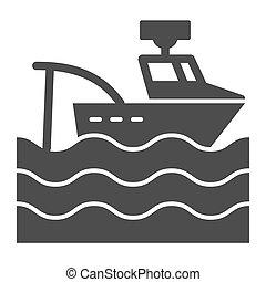 網, スタイル, 10., 固体, 隔離された, イラスト, eps, app., ボート, ベクトル, 設計された, white., トロール船, icon., glyph, デザイン, 容器, 釣り