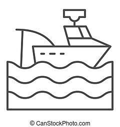 網, スタイル, white., 10., アウトライン, app., 薄くなりなさい, 隔離された, イラスト, eps, トロール船, ベクトル, 釣り, icon., 容器, 線, デザイン, ボート, 設計された