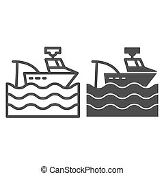 網, スタイル, white., 10., アウトライン, app., 設計された, 隔離された, イラスト, eps, トロール船, ベクトル, 釣り, icon., 容器, 線, デザイン, ボート, glyph