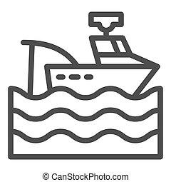 網, スタイル, white., 10., アウトライン, app., 隔離された, イラスト, eps, 容器, ベクトル, 設計された, icon., トロール船, 線, デザイン, ボート, 釣り