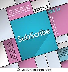 網, スペース, シンボル, 現代, text., 平ら, 予約購読しなさい, ベクトル, デザイン, 長い間, 影, ...