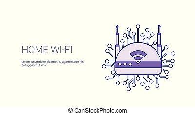 網, スペース, wifi, ワイヤレス結線, テンプレート, インターネット, 家, コピー, 旗