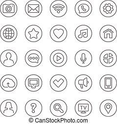 網, セット, アイコン, コミュニケーション, 連絡, 薄いライン