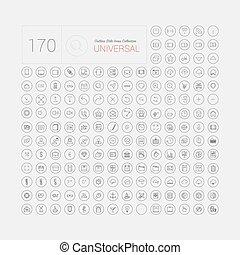 網, セット, アイコン, モビール, 普遍的, 現代, 薄いライン, 170