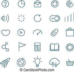 網, セット, アイコン, モビール, collection., 現代, 適用, pictograms, ...