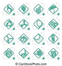 網, セット, アイコン, -, 定型, アプリケーション, エコロジー