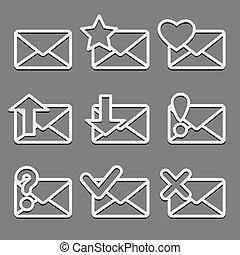 網, セット, アイコン, 封筒, 暗い, バックグラウンド。, メール