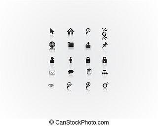 網, セット, アイコン, 抽象的, イラスト, ベクトル, 黒, 白