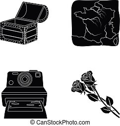 網, セット, アイコン, collection., ∥あるいは∥, 旅行, 教育, 黒, 技術, floriculture, style., アイコン