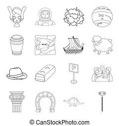 網, セット, アウトライン, アイコン, アイコン, collection., スペース, 宗教, style., 他, 歴史, 交通機関, 金融