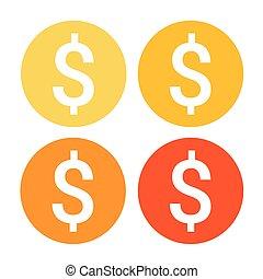 網, セット, カラフルである, お金, ドル記号, アイコン