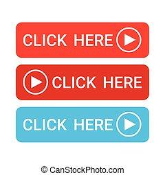 網, セット, カラフルである, ボタン, ここに, クリック, アイコン