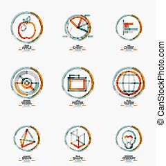 網, セット, スタンプ, デザイン, 薄いライン, 最小である, アイコン