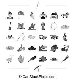 網, セット, 交通機関, アイコン, 自然, collection., 歴史, 装置, ビジネス, 他, style.industry, モノクローム, アイコン