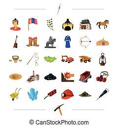 網, セット, 交通機関, アイコン, 自然, collection., 歴史, 装置, ビジネス, 他, style.industry, 漫画, アイコン