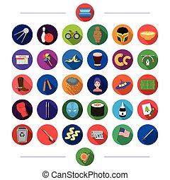 網, セット, 平ら, エコロジー, collection., style.competition, アイコン, ビジネス, 自然, 他, 歴史, 交通機関, アイコン