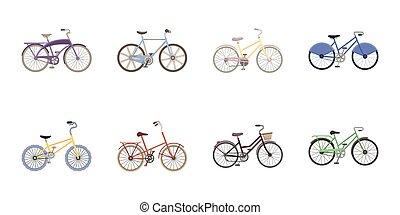 網, セット, illustration., アイコン, シンボル, コレクション, bicycles, ベクトル, 様々, design., タイプ, 輸送, 株