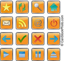 網, セット, image., 編集, collection., ボタン, -, ベクトル, 容易である, アイコン