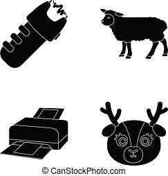 網, セット, style.animals, アイコン, collection., 警察, 黒, 技術, 農業, ∥あるいは∥, アイコン