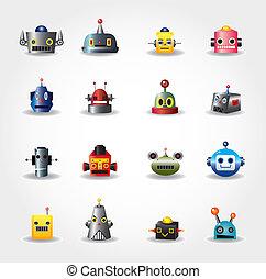 網, セット, -vector, ロボット, 顔, 漫画, アイコン