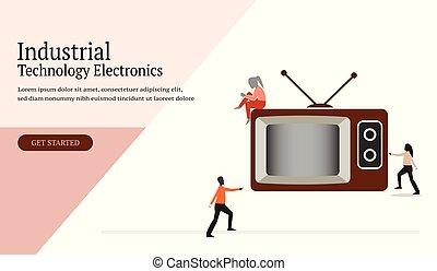 網, テレビ, 産業, 旗, リーフレット, ポスター, -, ベクトル, デザイン, 人間, エレクトロニクス, アイコン, app, 技術, テンプレート
