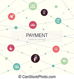 網, テンプレート, 最新流行である, 支払い, ∥含んでいる∥, インボイス, icons., 要素, お金, 手形, そのような物, 単純である
