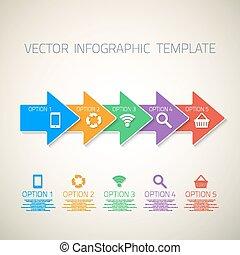 網, テンプレート, could, 矢, ベクトル, infographic, レイアウト, アイコン
