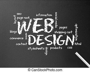網, -, デザイン, 黒板