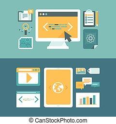 網, デジタル, 開発, ベクトル, 内容, マーケティング