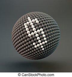 網, ドル, icon., ベクトル, 印。, デザイン, element., illustration., 3d