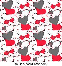 網, パターン, ありなさい, hearts., ページ, 点, レトロ, 手ざわり, 缶, seamless, ベクトル, 表面, 使われた, 壁紙, いっぱいになる, 背景, ポルカ, パターン