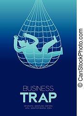 網, ビジネス, テキスト, デザイン, トラップ, 背景, セット, 隔離された, コピー, 捕えられた, 縦, 考え, イラスト, 概念, スペース, 勾配, ビジネスマン, 青