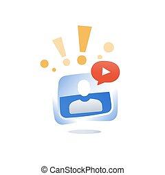 網, ビデオ, 資源, 概念, オンラインで, webinar, コース, セミナー, 指導, 呼出し, インターネット, 遠い, 教育, チュートリアル