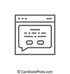 網, フィードバック, ページ, メッセージ, icon., 線