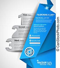 網, プロダクト, 選択, ビジネス, 比較, 3, 使用法, depliant, 理想, presentation., origami, ∥あるいは∥, choices., menù
