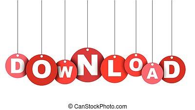 網, ベクトル, これ, 旗, 井戸, 隔離された, イラスト, 要素, タグ, 容易である, download., 円, adapted, 赤, design.