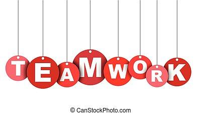 網, ベクトル, これ, 旗, 井戸, 隔離された, イラスト, 要素, タグ, teamwork., 容易である, 円, adapted, 赤, design.