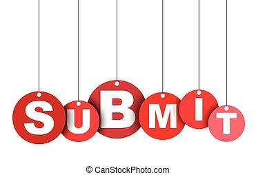 網, ベクトル, これ, 旗, 井戸, 隔離された, イラスト, 要素, submit., タグ, 容易である, 円, adapted, 赤, design.