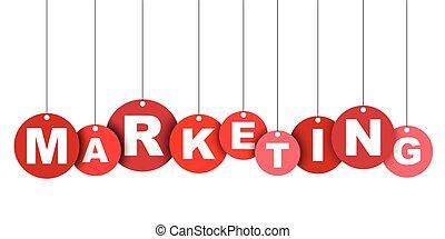 網, ベクトル, marketing., これ, 旗, 井戸, 隔離された, イラスト, 要素, タグ, 容易である, 円, adapted, 赤, design.