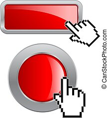 網, ボタン, ここに, グロッシー, クリック, 赤