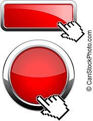 網, ボタン, グロッシー, 赤