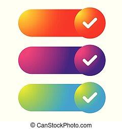 網, ボタン, セット, カラフルである