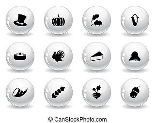 網, ボタン, 感謝祭, アイコン