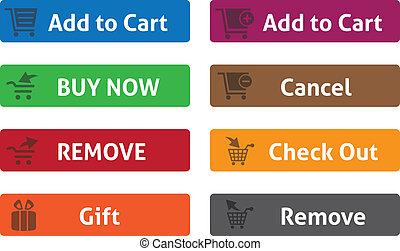 網, ボタン, 買い物カート, 印