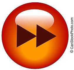網, ボタン, -, 速い, ベクトル, 前方へ, ∥あるいは∥, 赤, アイコン