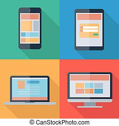 網, モニター, タブレット, イラスト, ベクトル, デザイン, 装置, 電話, ノート, 適応性がある, 電子