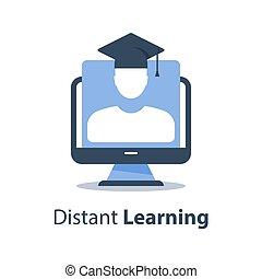 網, モニター, 試験, コース, セミナー, 人, コンピュータ, 遠い, 卒業, オンラインで, webinar, 教育, 帽子, 講義, 主題